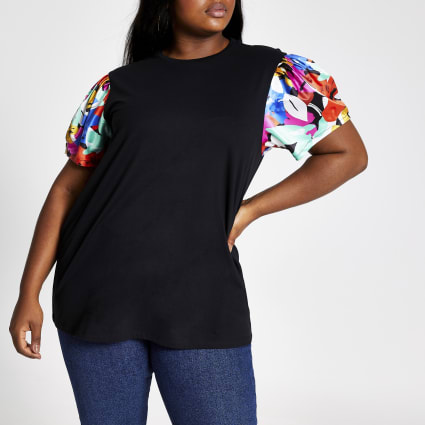 Plus black floral print sleeve T-shirt
