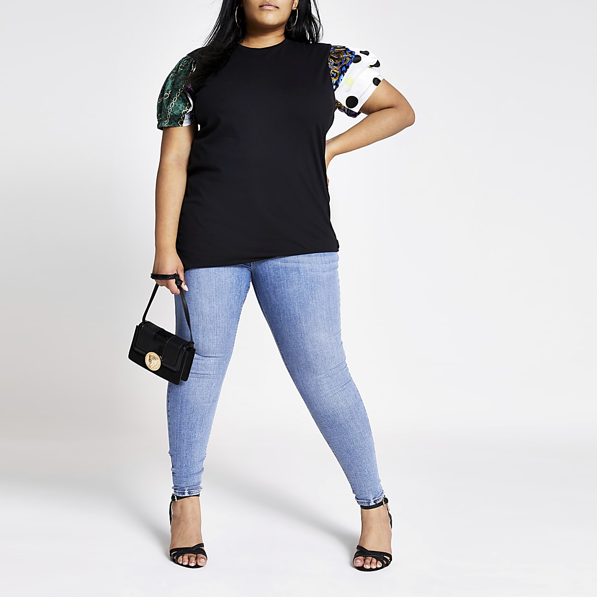 Plus black mixed print short sleeve T-shirt