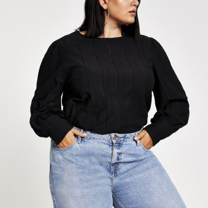 Plus black broiderie puff sleeve top