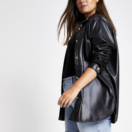 Plus black faux leather shirt