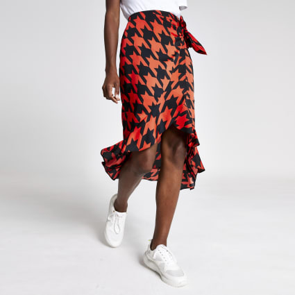 Red dogtooth check frill midi skirt