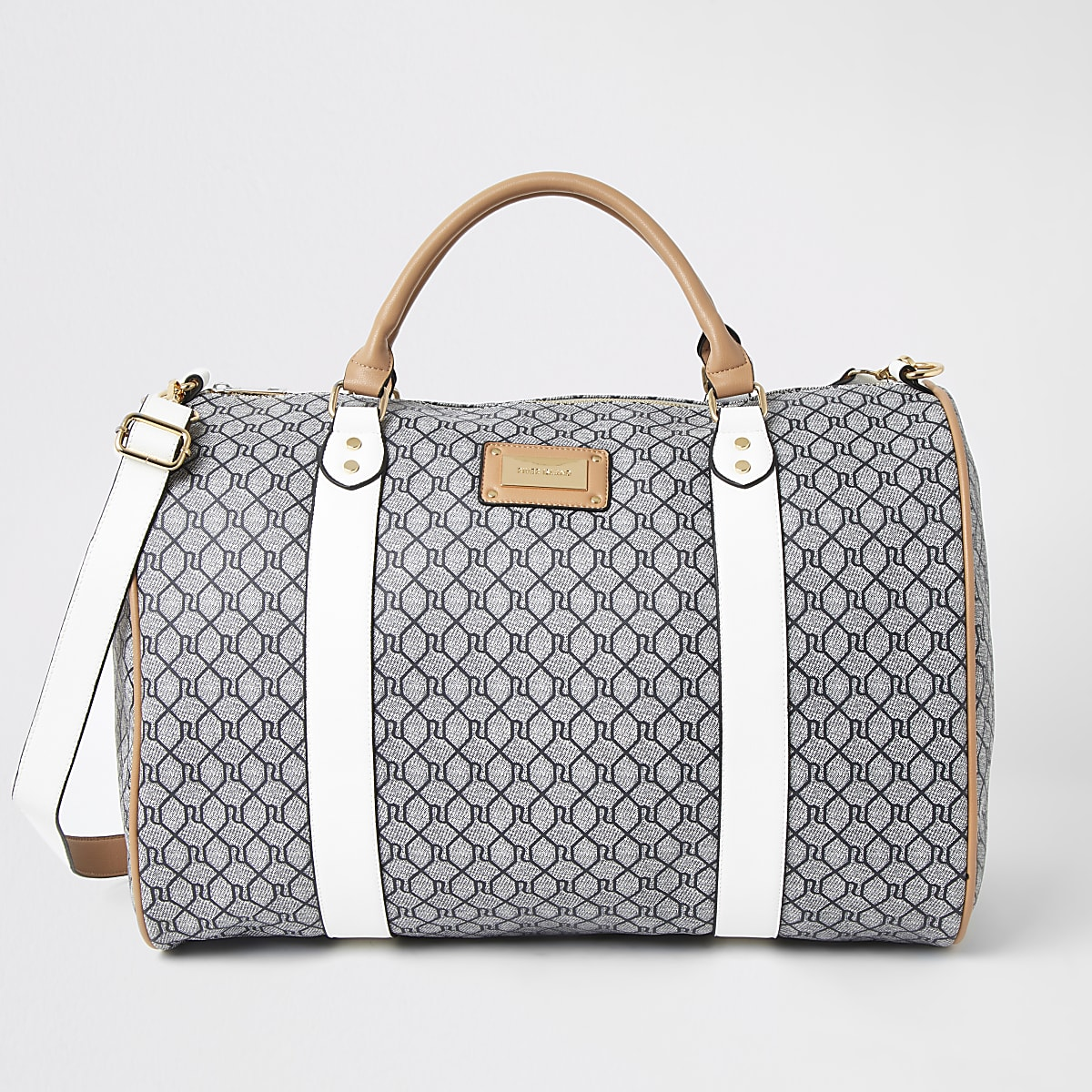 Grey RI monogram large weekend travel bag