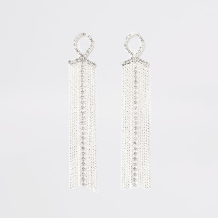 Silver colour diamante tassel drop earrings