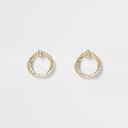 Gold colour hoop twist diamante stud earrings