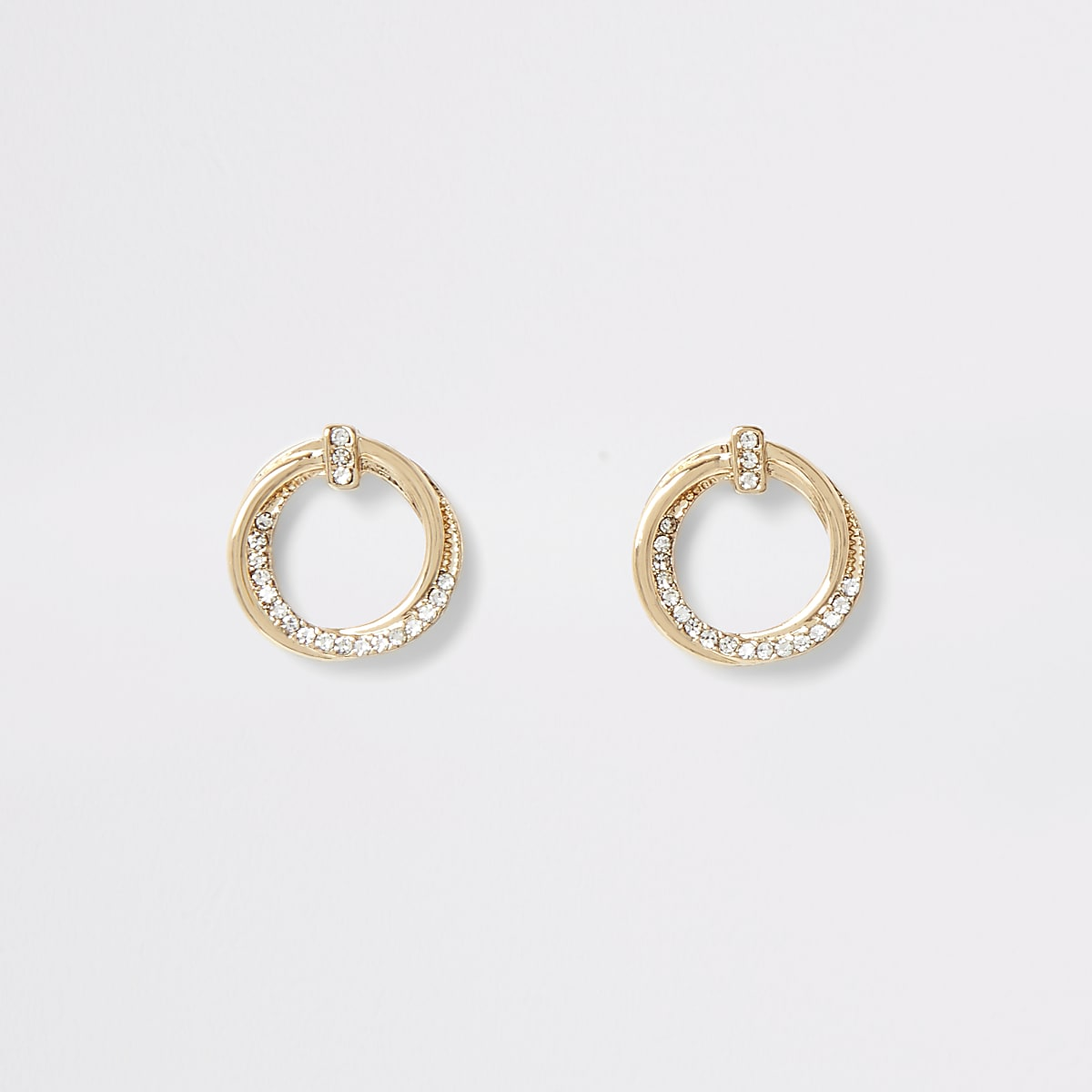 Gold colour hoop twist diamante stud earrings