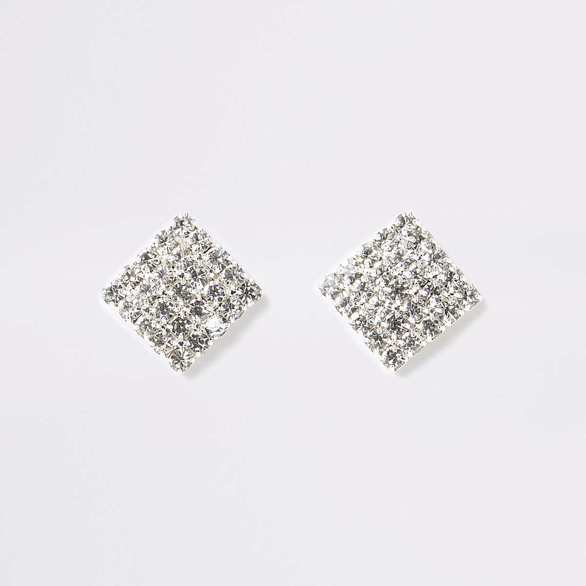 Zilverkleurige vierkante oorknopjes met diamantjes
