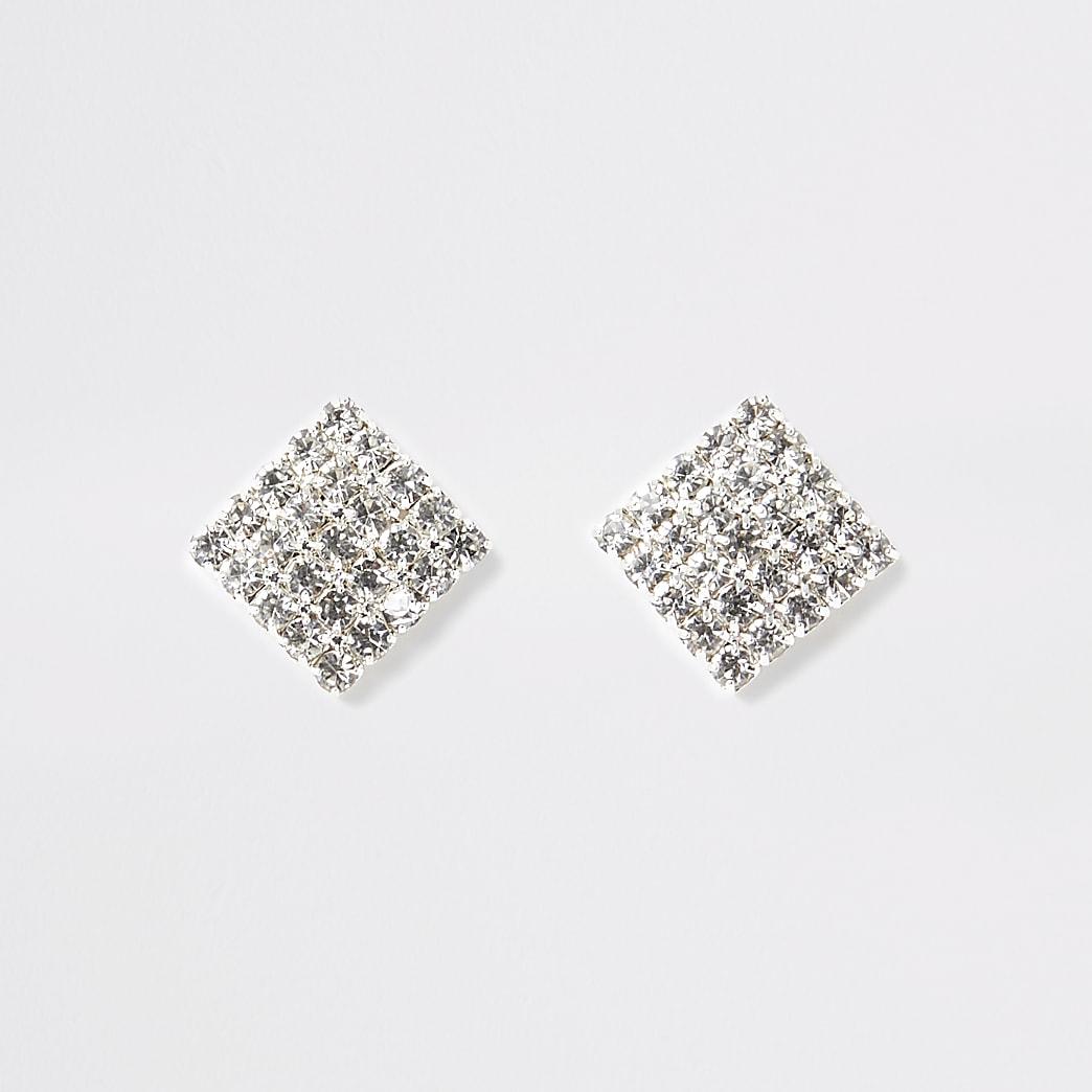 Silver square diamante  stud earrings