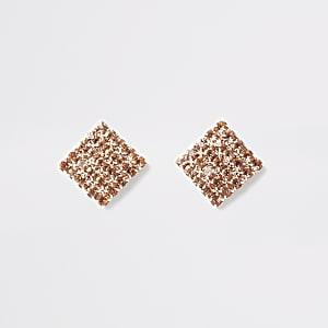 Boucles d'oreilles carrées façon or rose pavées de strass