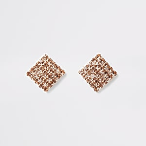 Roségouden vierkante oorknopjes met stras