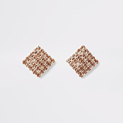 Rose gold tone square diamante stud earrings