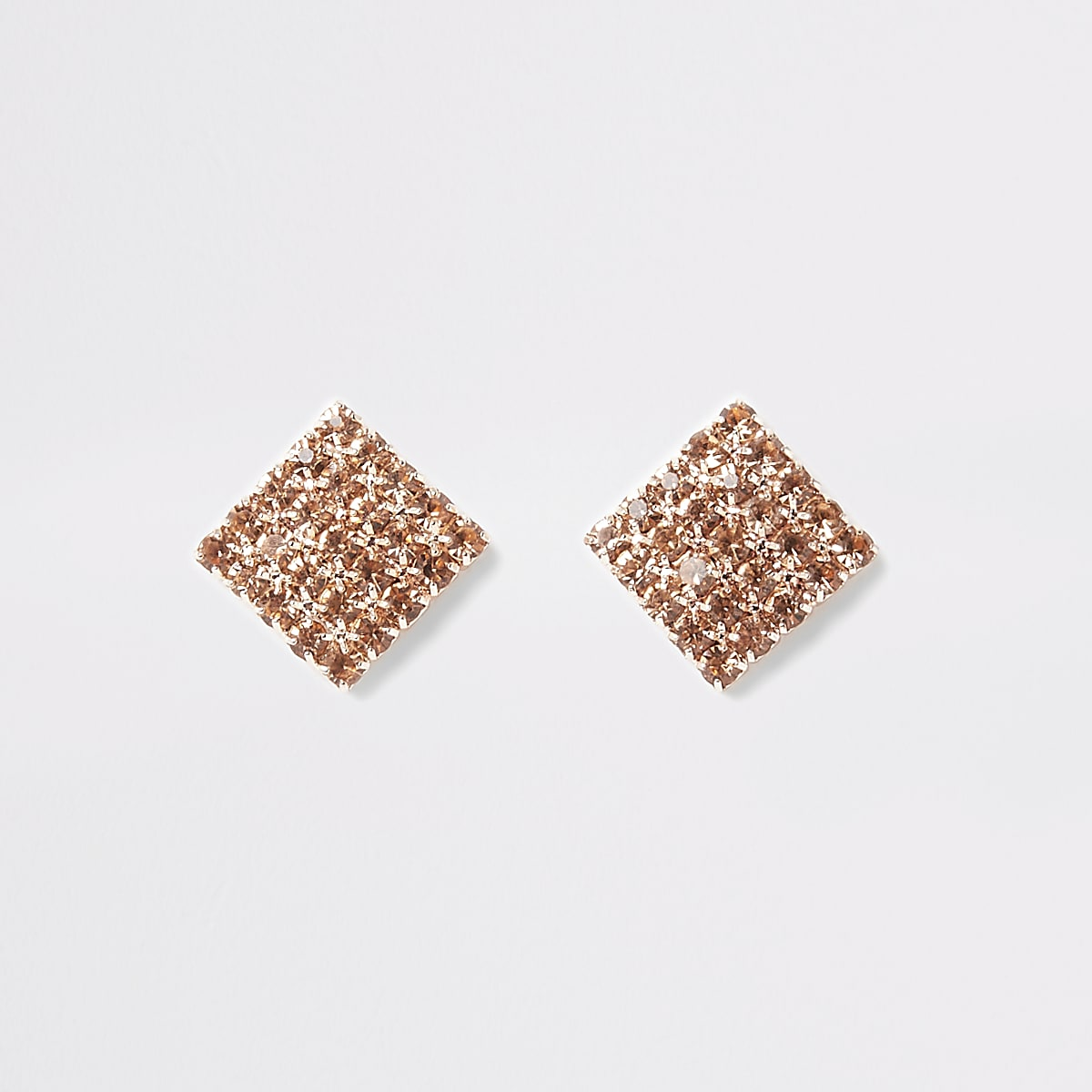 Rose gold square diamante paved stud earrings