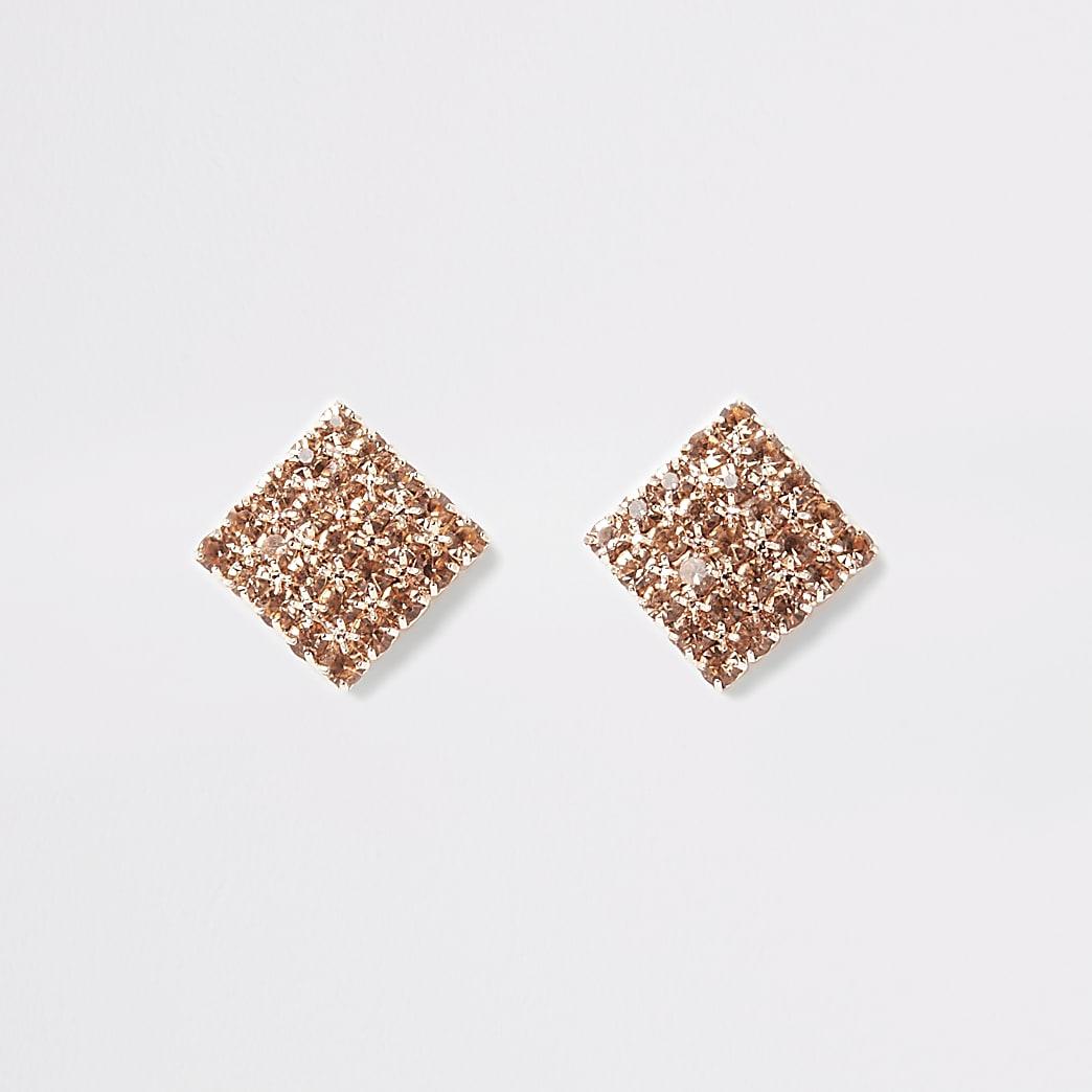 Clous d'oreilles or rose carrés à strass