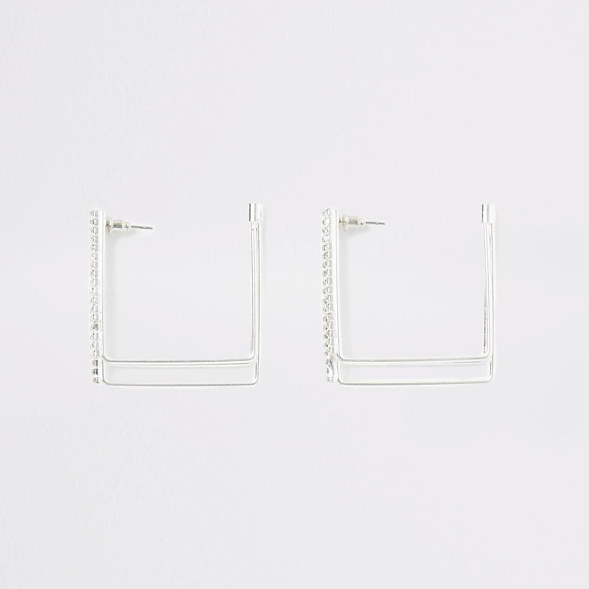 Zilverkleurige vierkante oorringen met stras