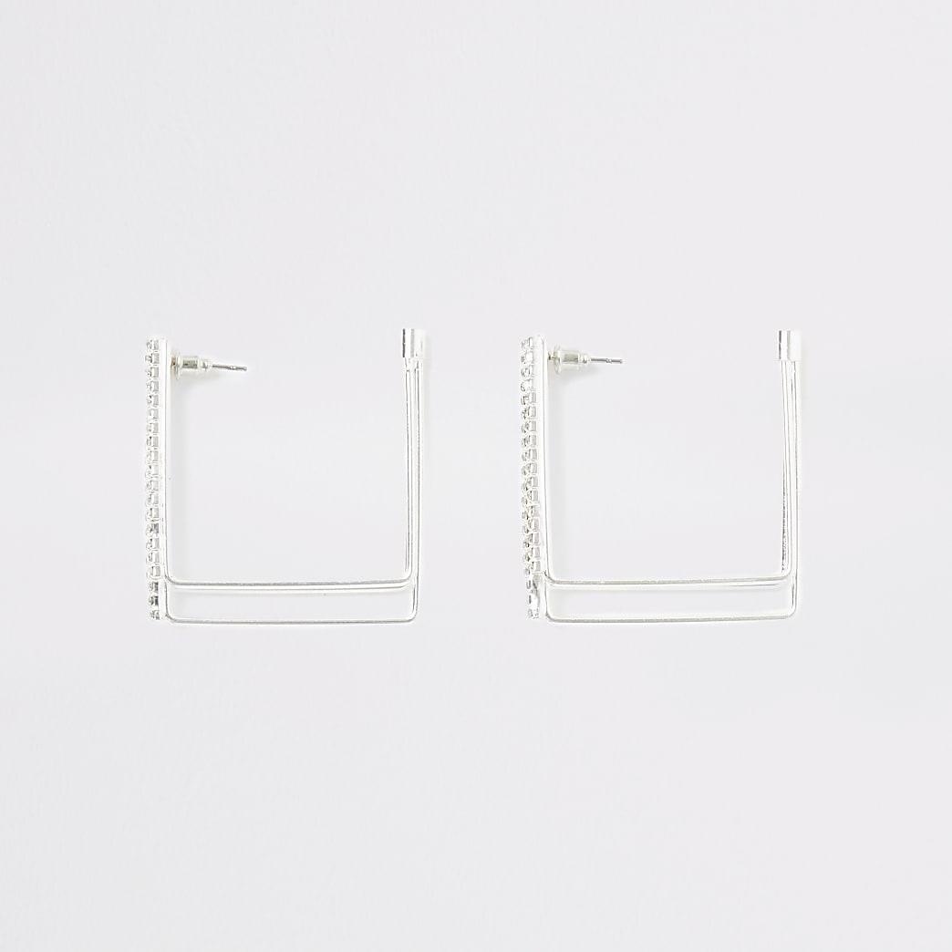Créoles carrées argentées pavées