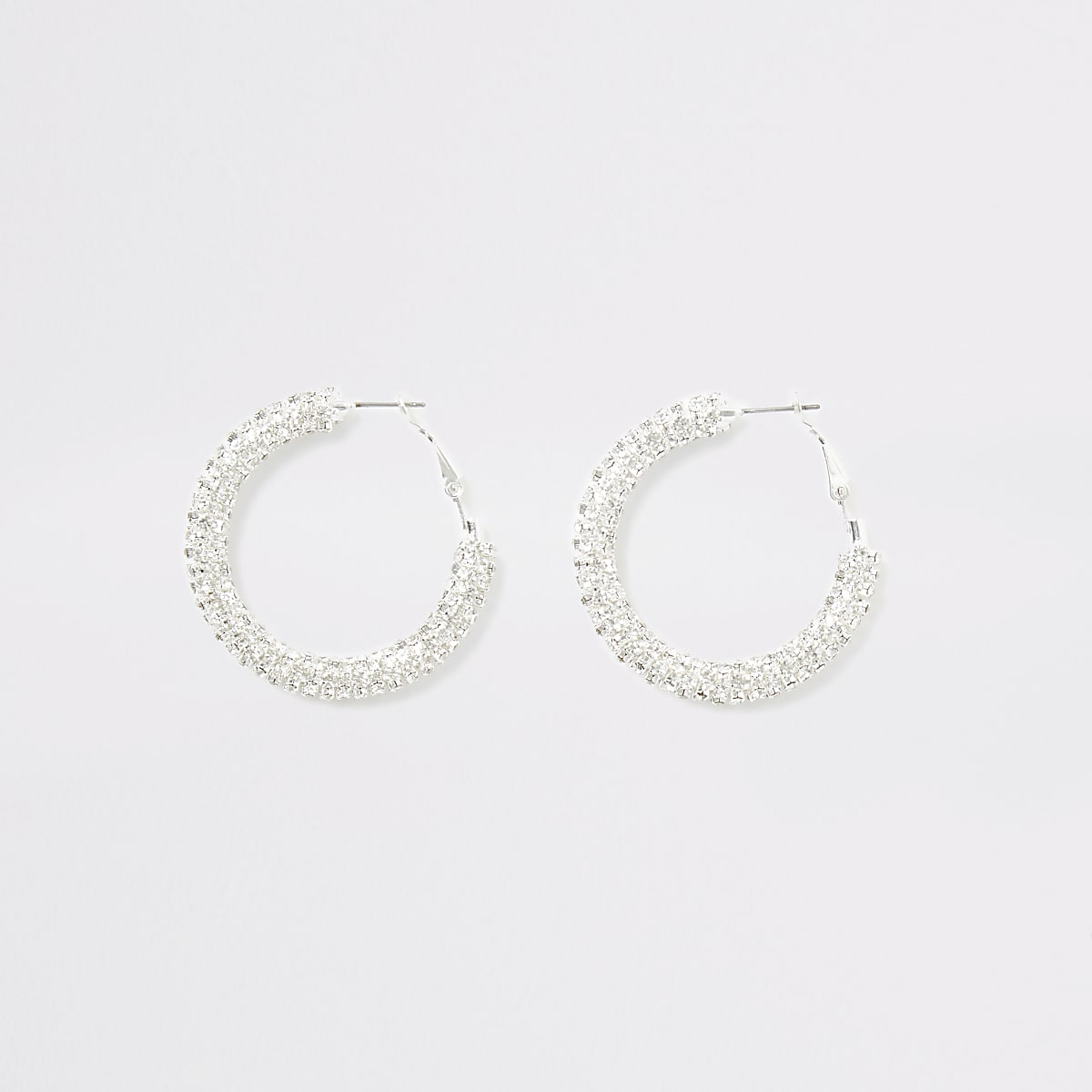 Silver colour diamante hoop earrings