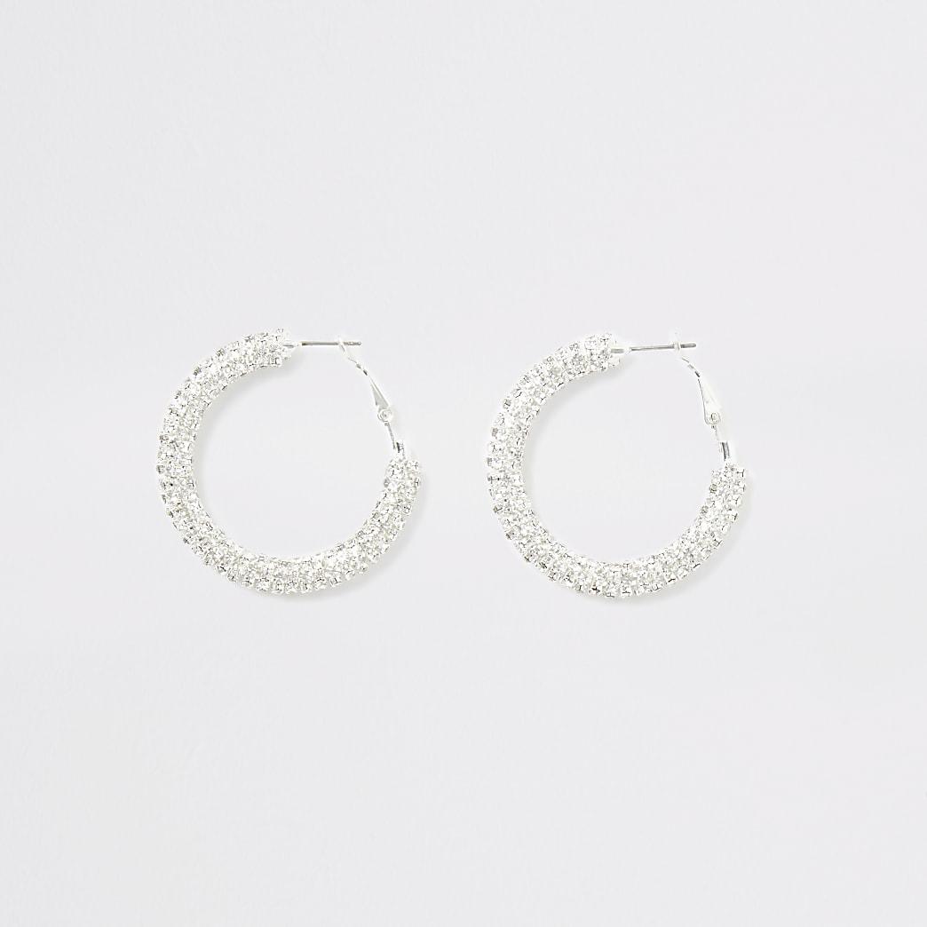Silver colour diamante hoop earrings