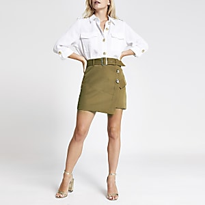 Petite light brown utility mini skirt