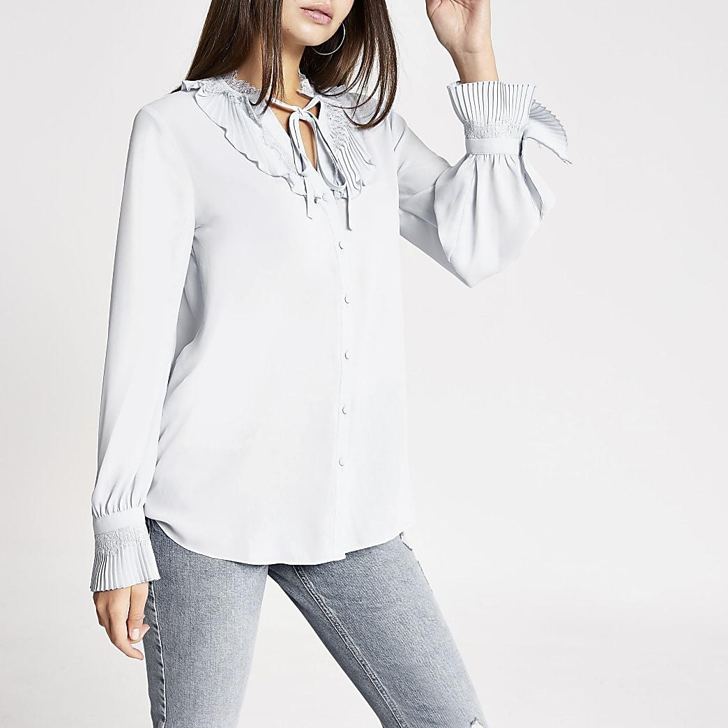 Blue lace trim long sleeve top