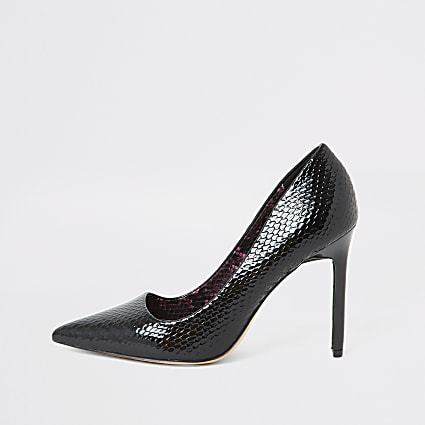 Black snake embossed skinny heel court shoe