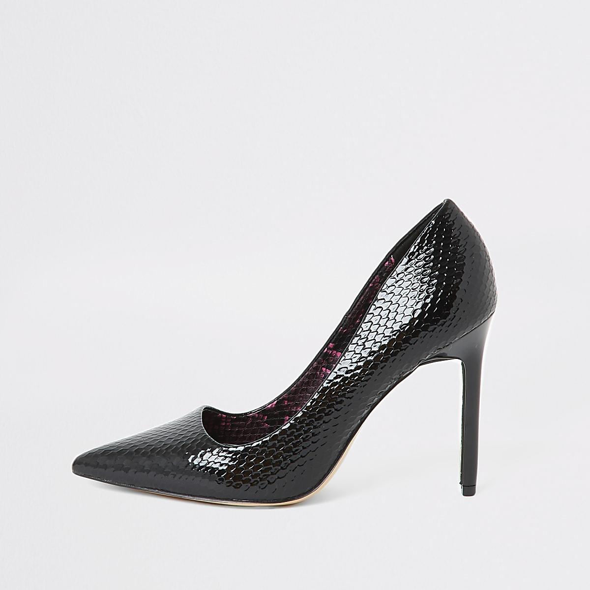 Black snake embossed skinny heel court shoe
