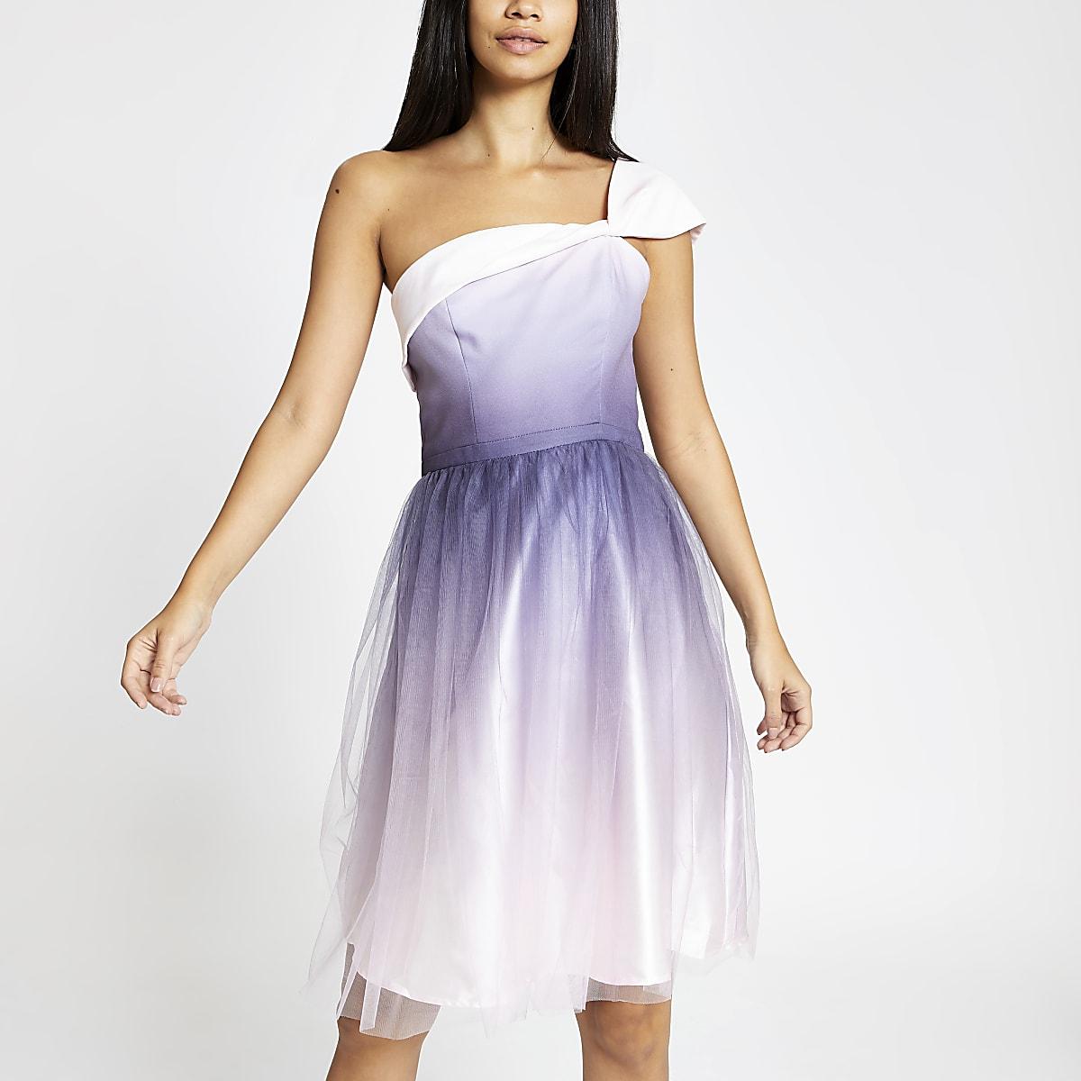 Chi Chi London pink one shoulder prom dress