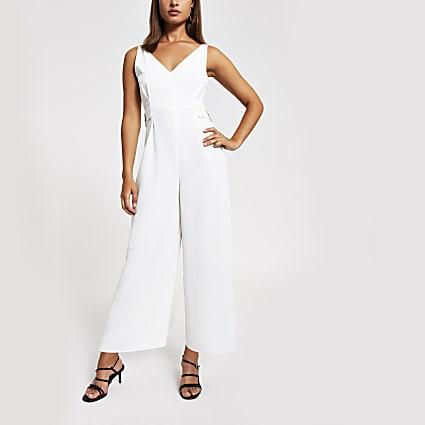 White V neck and back jumpsuit