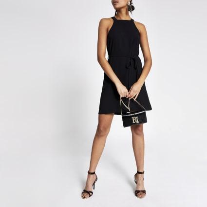 Black tie waist swing dress