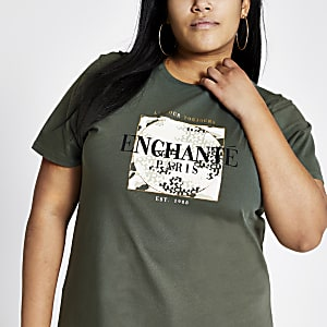 RI Plus - Kaki jumbo T-shirt met print