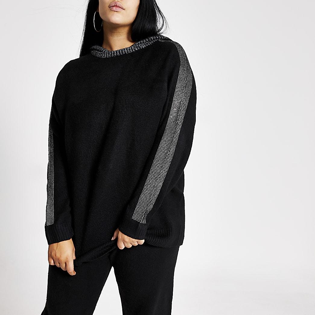 RI Plus - Zwarte gebreide hoodie met rand van siersteentjes