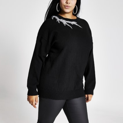 Plus black embellished neck knitted jumper