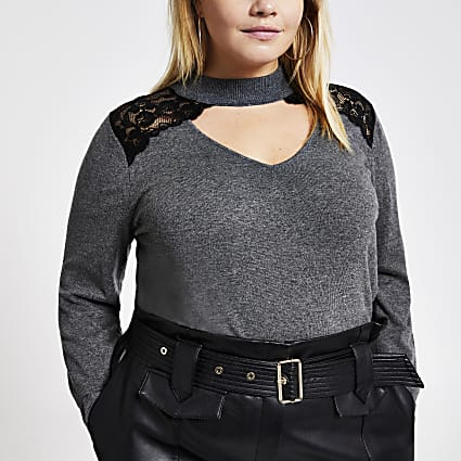 Plus grey lace choker neck knitted jumper