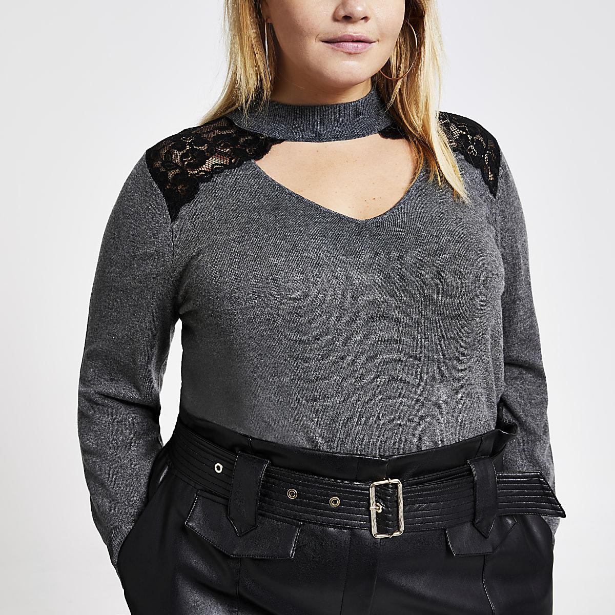 RI Plus - Grijze gebreide pullover met kanten en chokerhals