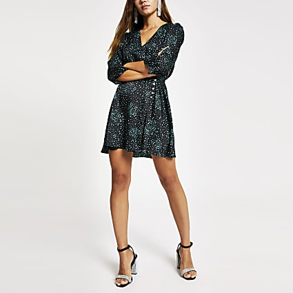 Petite black heart print wrap mini dress