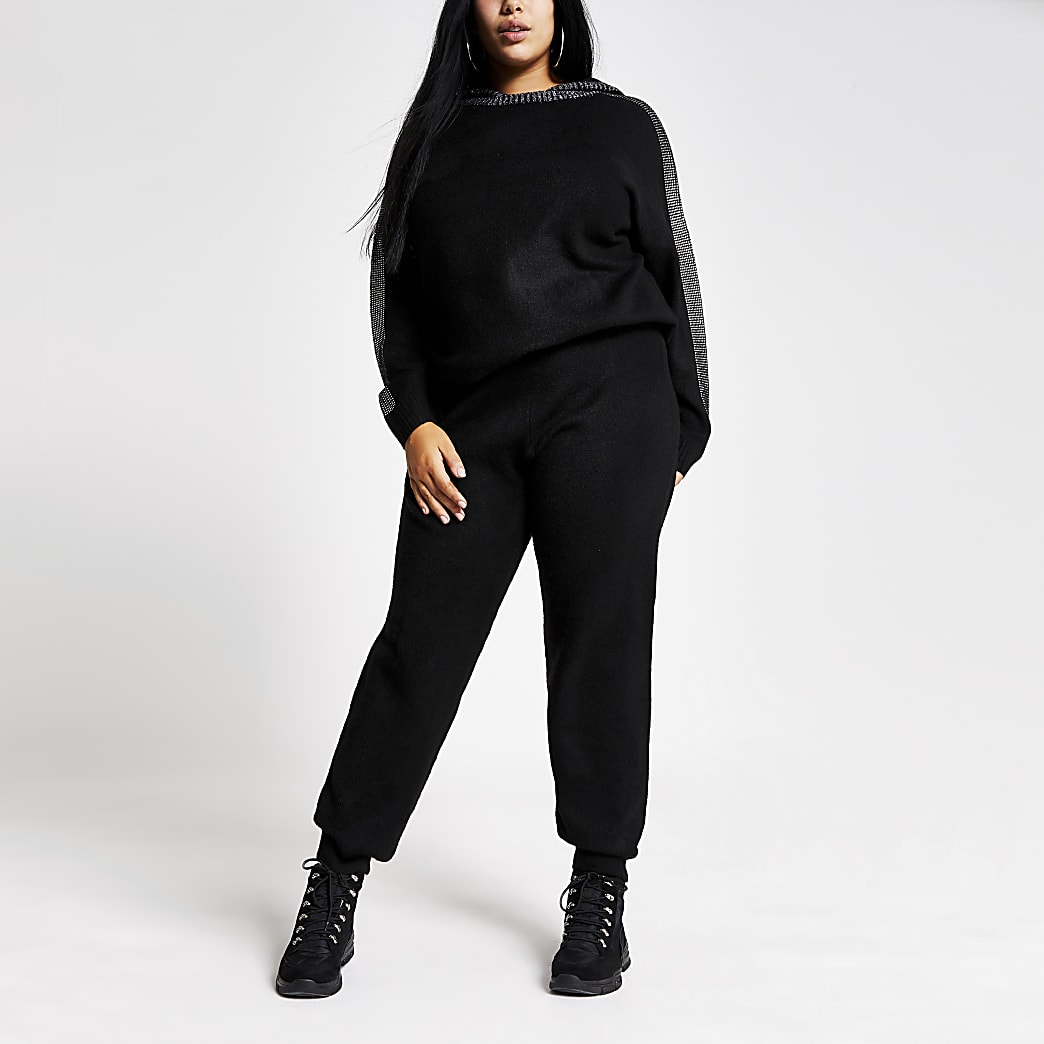 Plus black diamante pocket knitted joggers