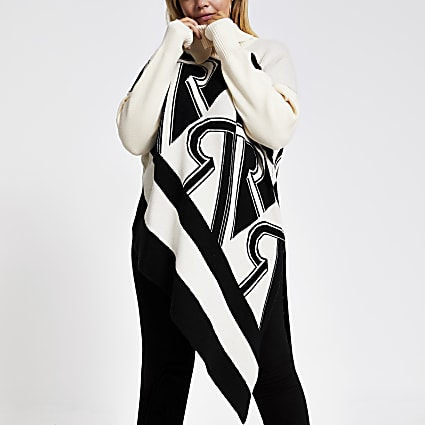 Plus cream print asymmetric knitted jumper