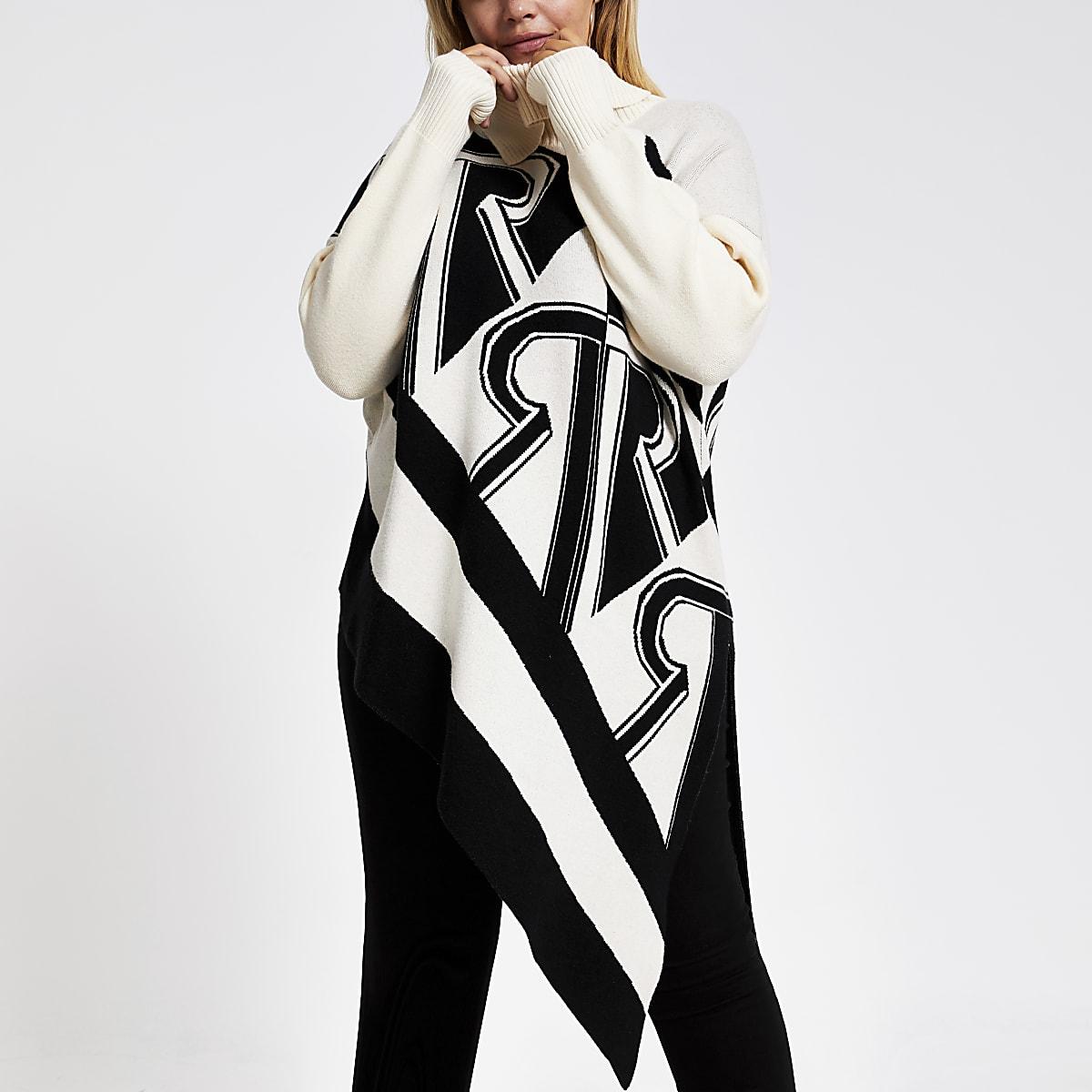 Plus cream print asymmetric knitted jumper