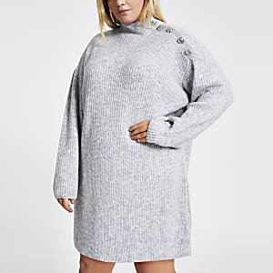 RI Plus - Grijze gebreide trui-jurk met knopen