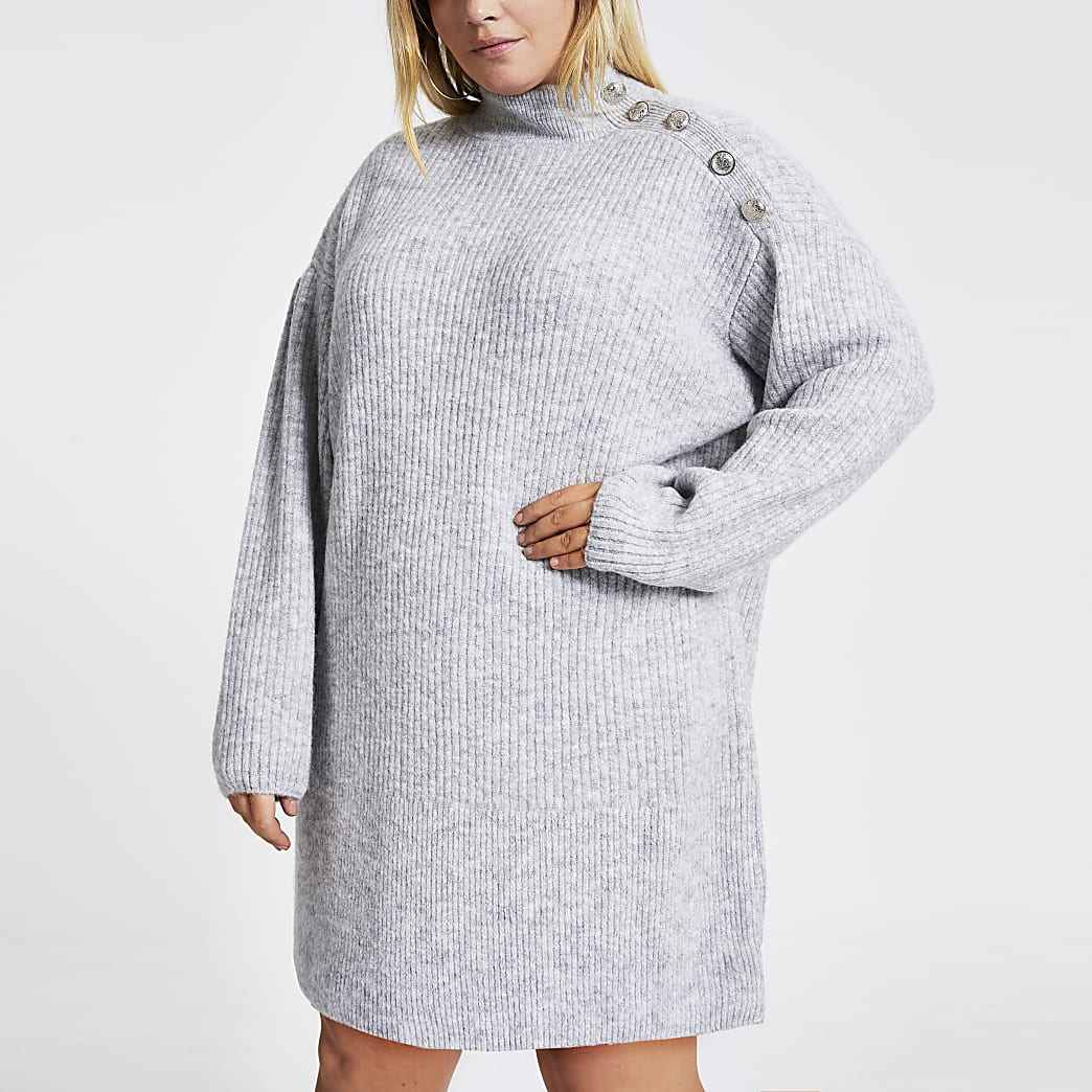 Plus – Graues Strickpullover-Kleid mit Knopf