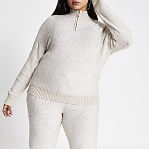 Plus beige sequin half zip knitted jumper