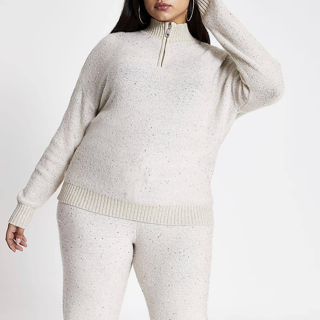 Plus beige sequin half zip knitted jumper