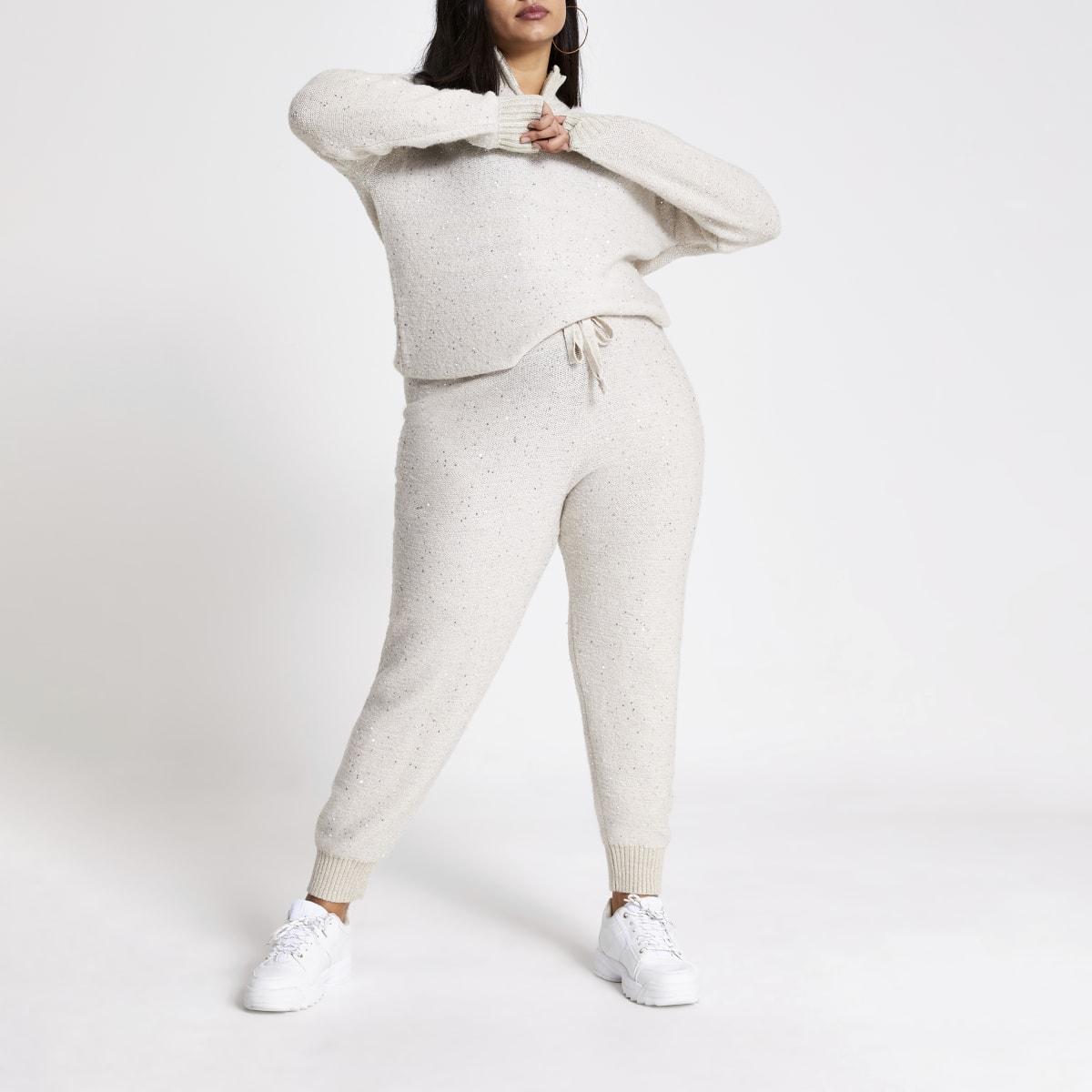 Plus–Pantalons de jogging en maille beige ornés de sequins