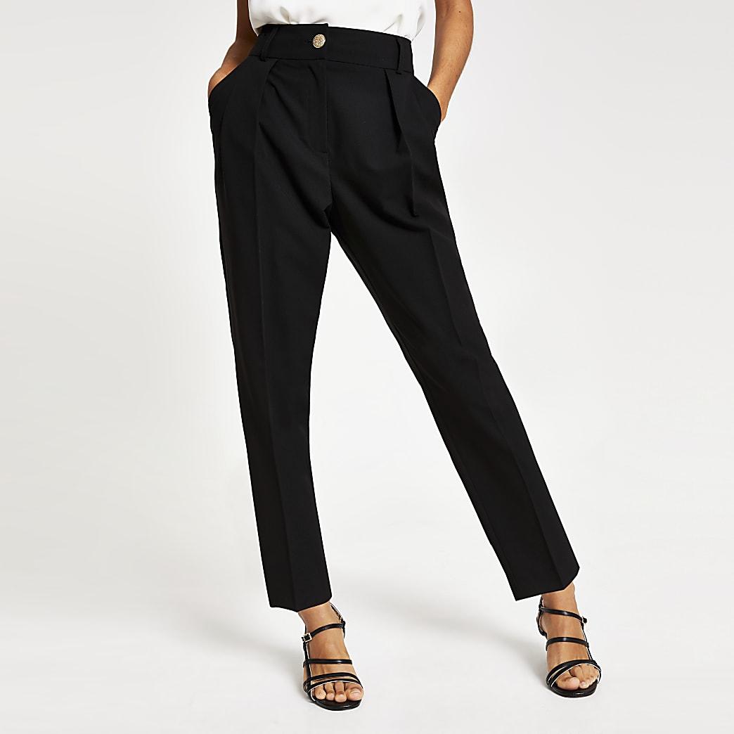 Petite black peg leg trousers