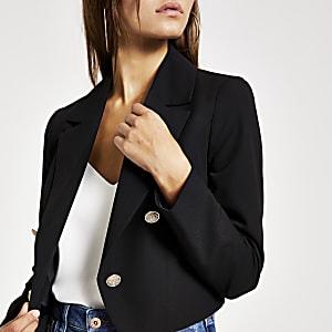 RI Petite -Zwarte cropped blazer met knopen