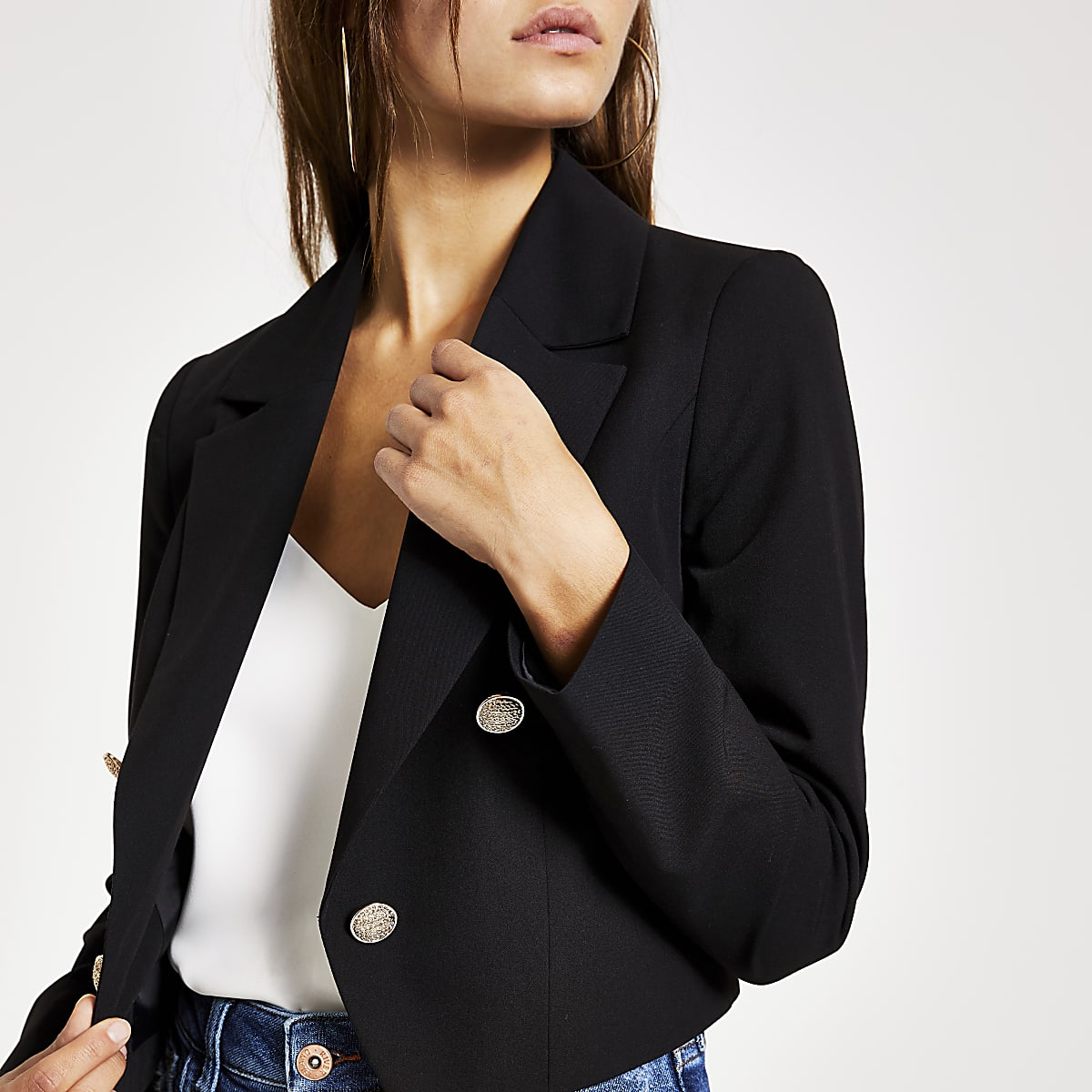 Petite black button cropped blazer