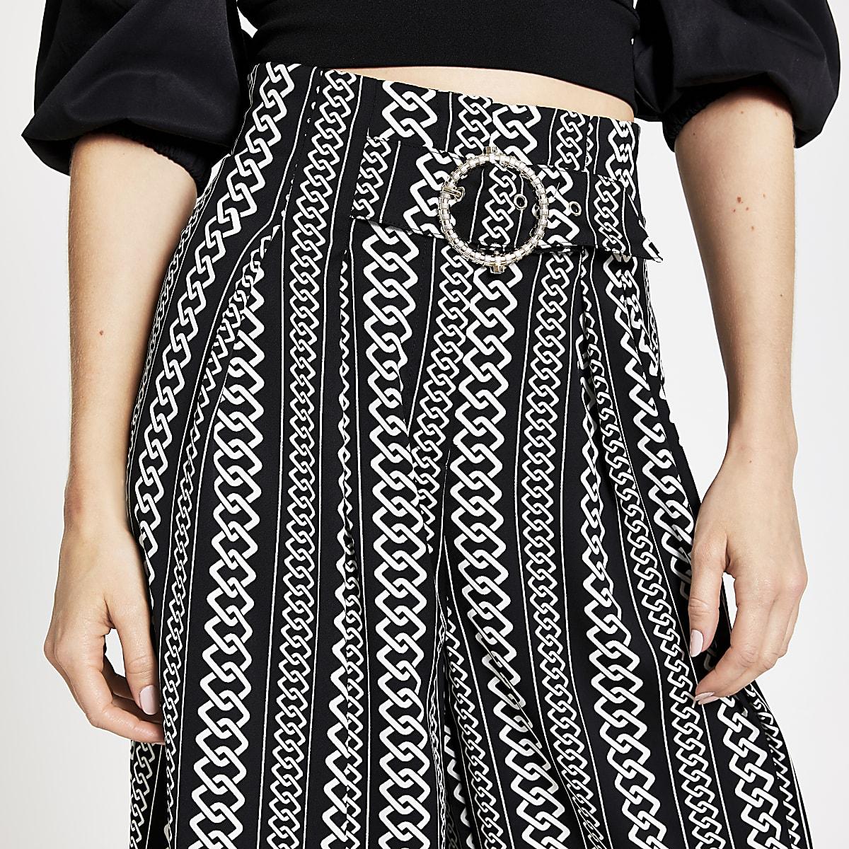 Zwarte cropped broek met kettingprint