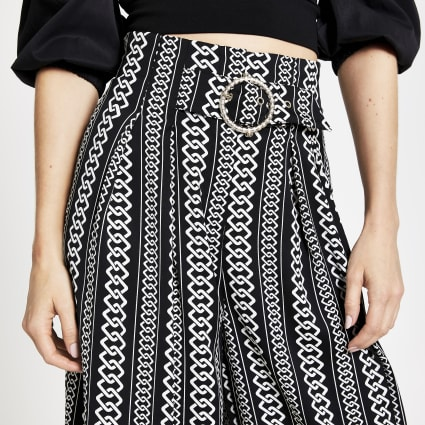Black chain print cropped trousers