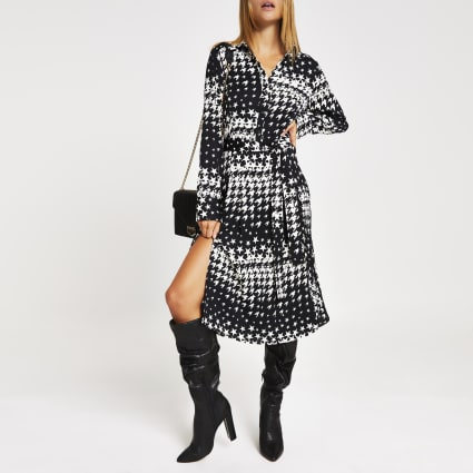 Black dogtooth check tie waist shirt dress