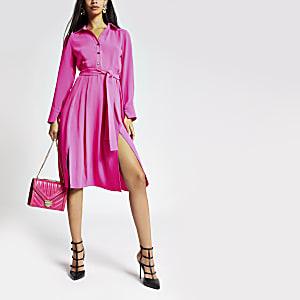 Robe chemise rose vif à manches longues