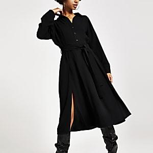 Robe chemise noire à manches longues