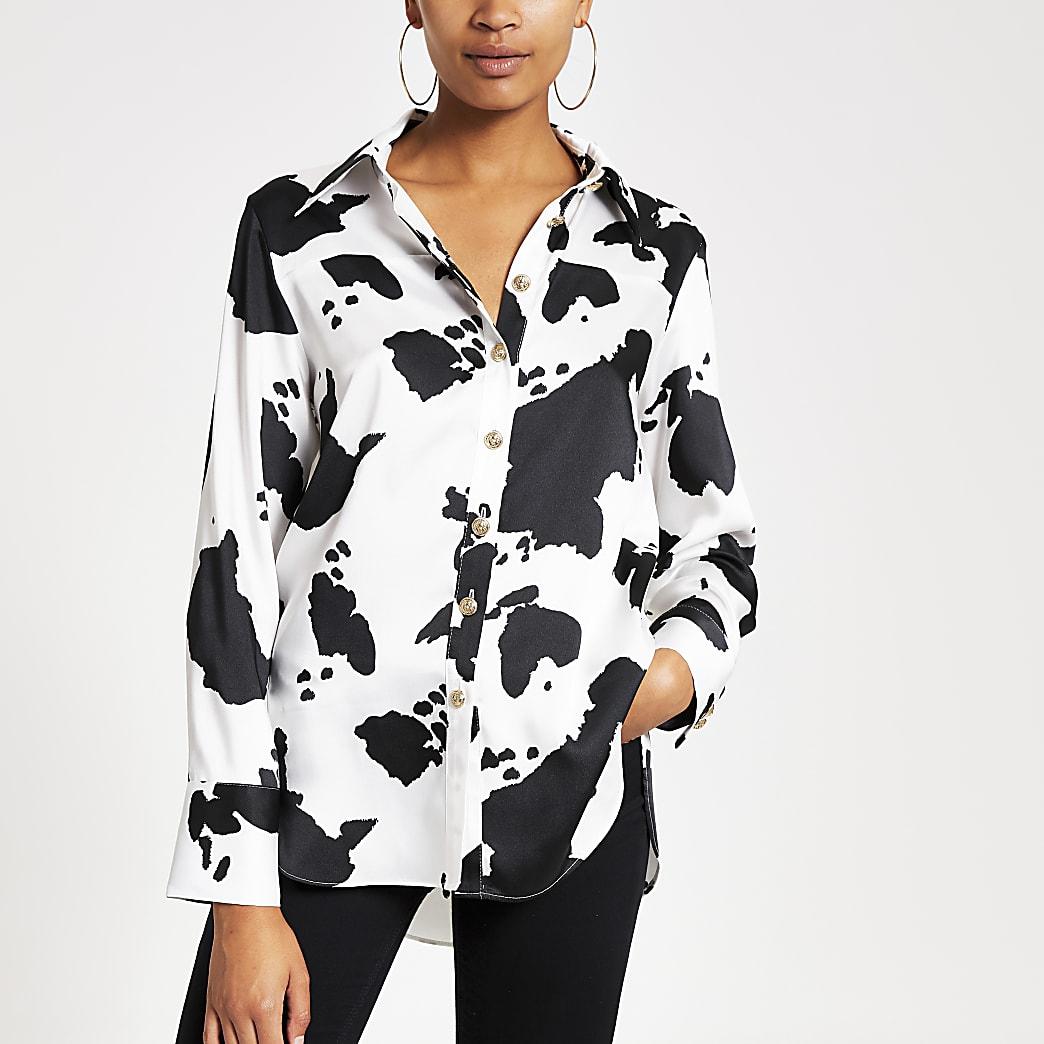 Wit overhemd met print en lange mouwen